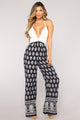 Trouble In Paradise Crochet Jumpsuit - Navy