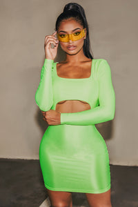 GNO Again Cutout Mini Dress - Neon Yellow Angle 1