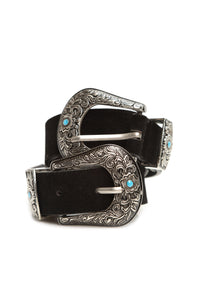 Young Heart Double Buckle Belt - Black