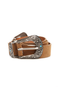 Young Heart Double Buckle Belt - Brown