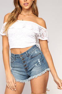 Florence Off Shoulder Lace Top - White