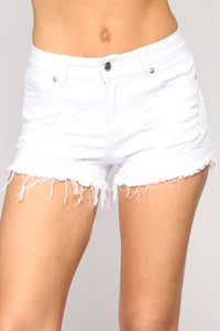 Rip My Heart Out Denim Shorts - White