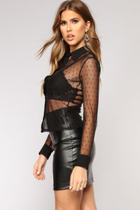 What's The Scoop Mesh Top - Black