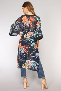 Tropical State Of Mind Kimono - Navy/Multi