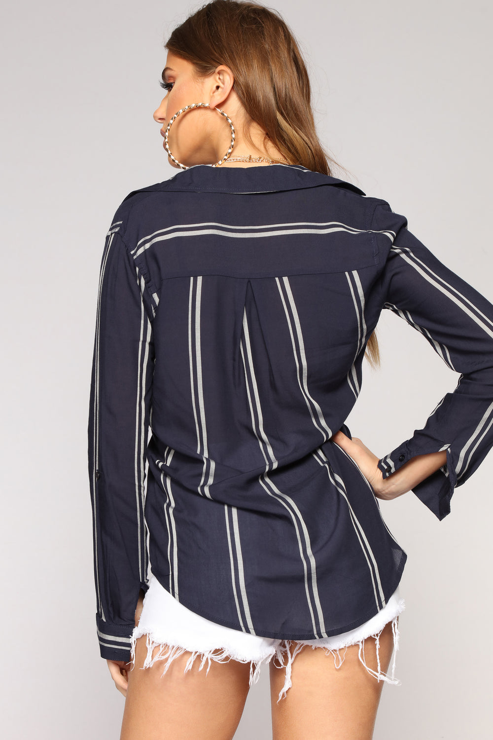 Time To Work Button Down Top - Navy