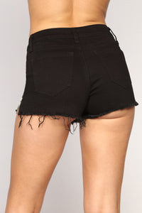 Open Heart Denim Shorts - Black