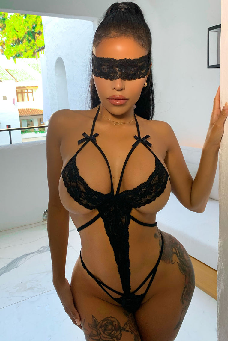 Midnight Stories 2 Piece Blindfold Strappy Teddy - Black