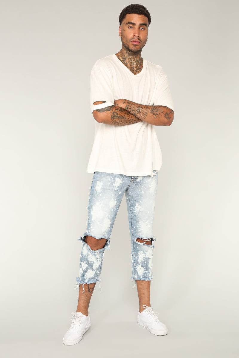 Flame Crop Jeans - Blue Wash