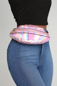 Hey Holo What's Up Fanny Pack - Pink Angle 3