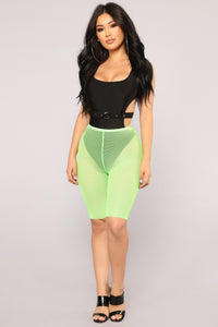 Mila Fishnet Biker Shorts - Neon Green