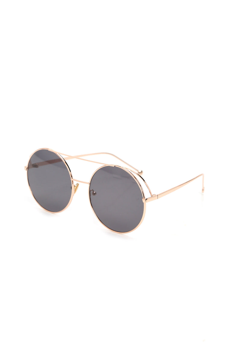 Don't Bumble Me Around Sunglasses - Black/Rose Gold
