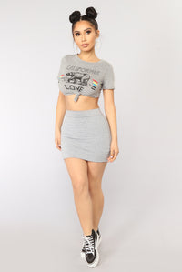 Cali Girl Crop Top - Heather Grey
