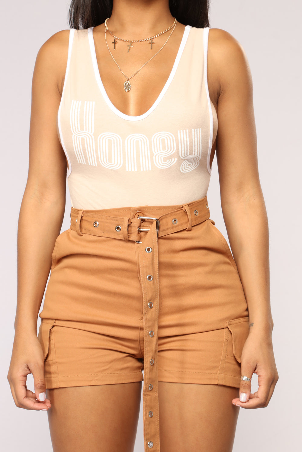 Stuck Like Honey Bodysuit - Beige
