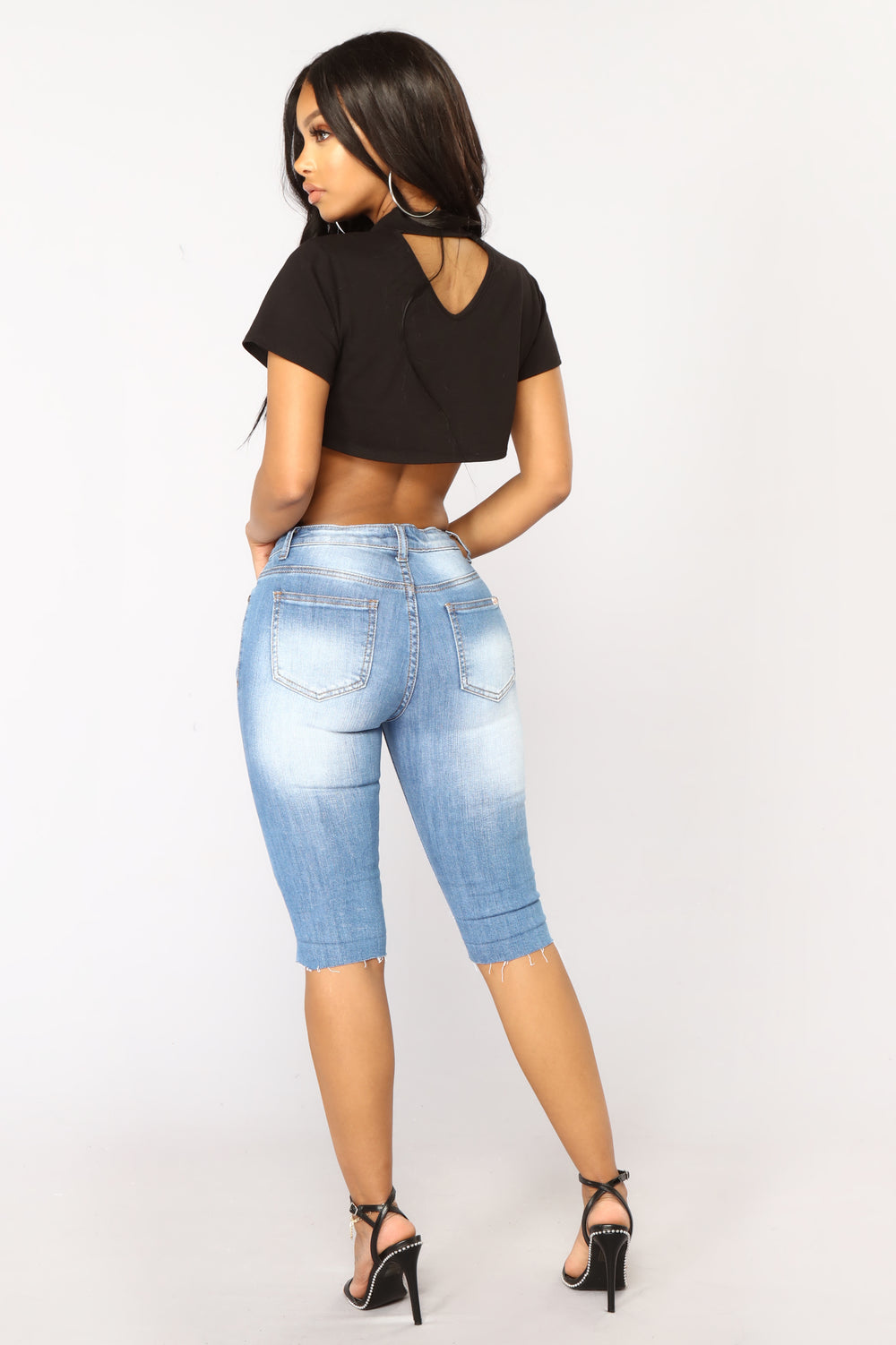 Power To The Girls Crop Top - Black