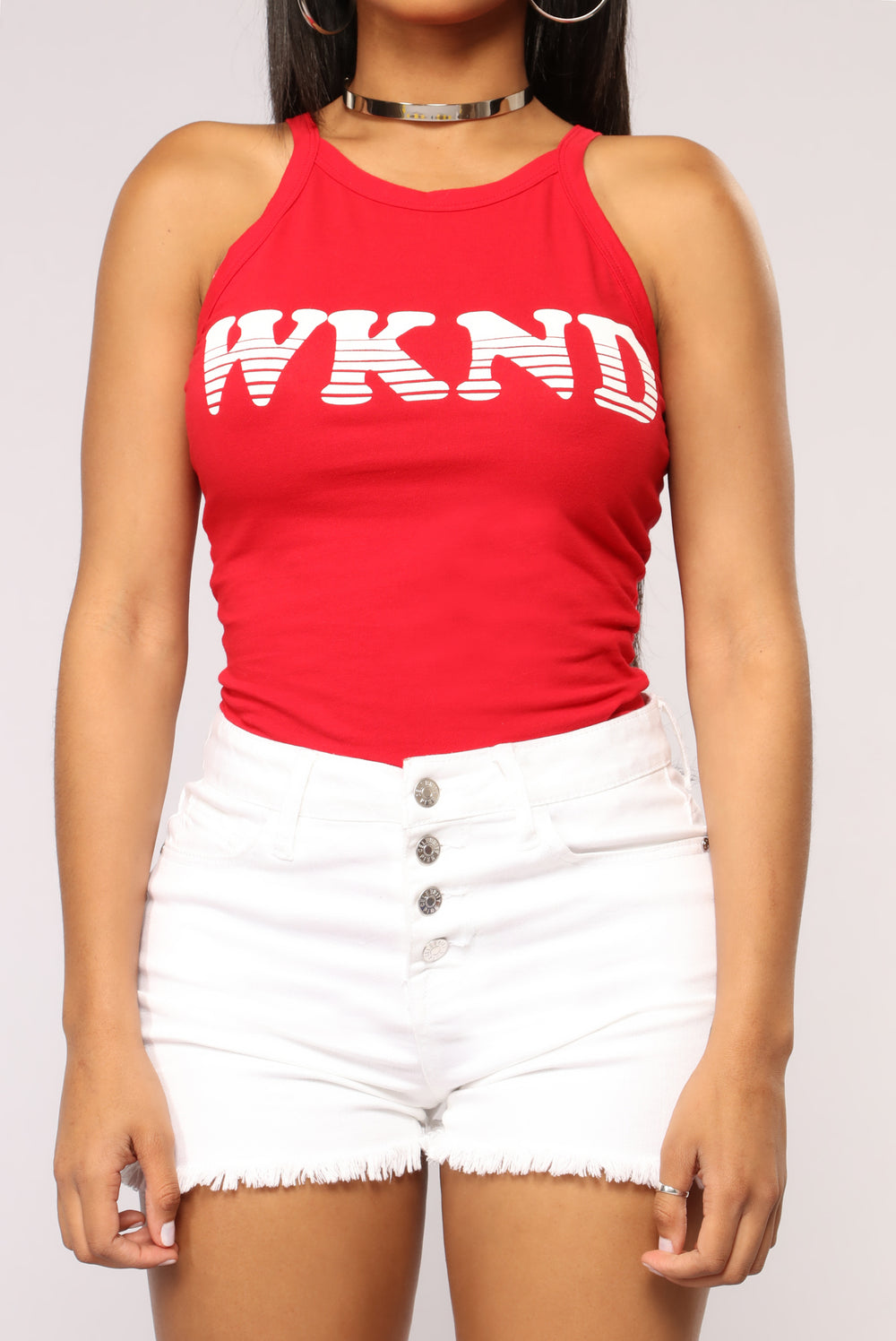I'm The Weekend Bodysuit - Red
