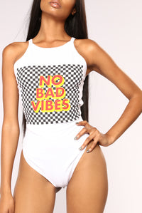 Vibes For The Win Bodysuit - White