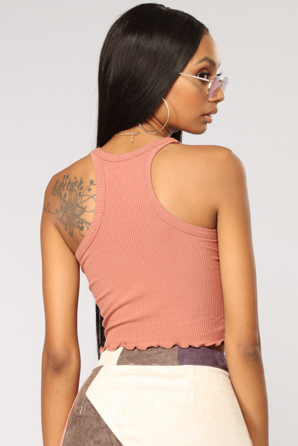 Sweet Times Cropped Tank - Brick Red