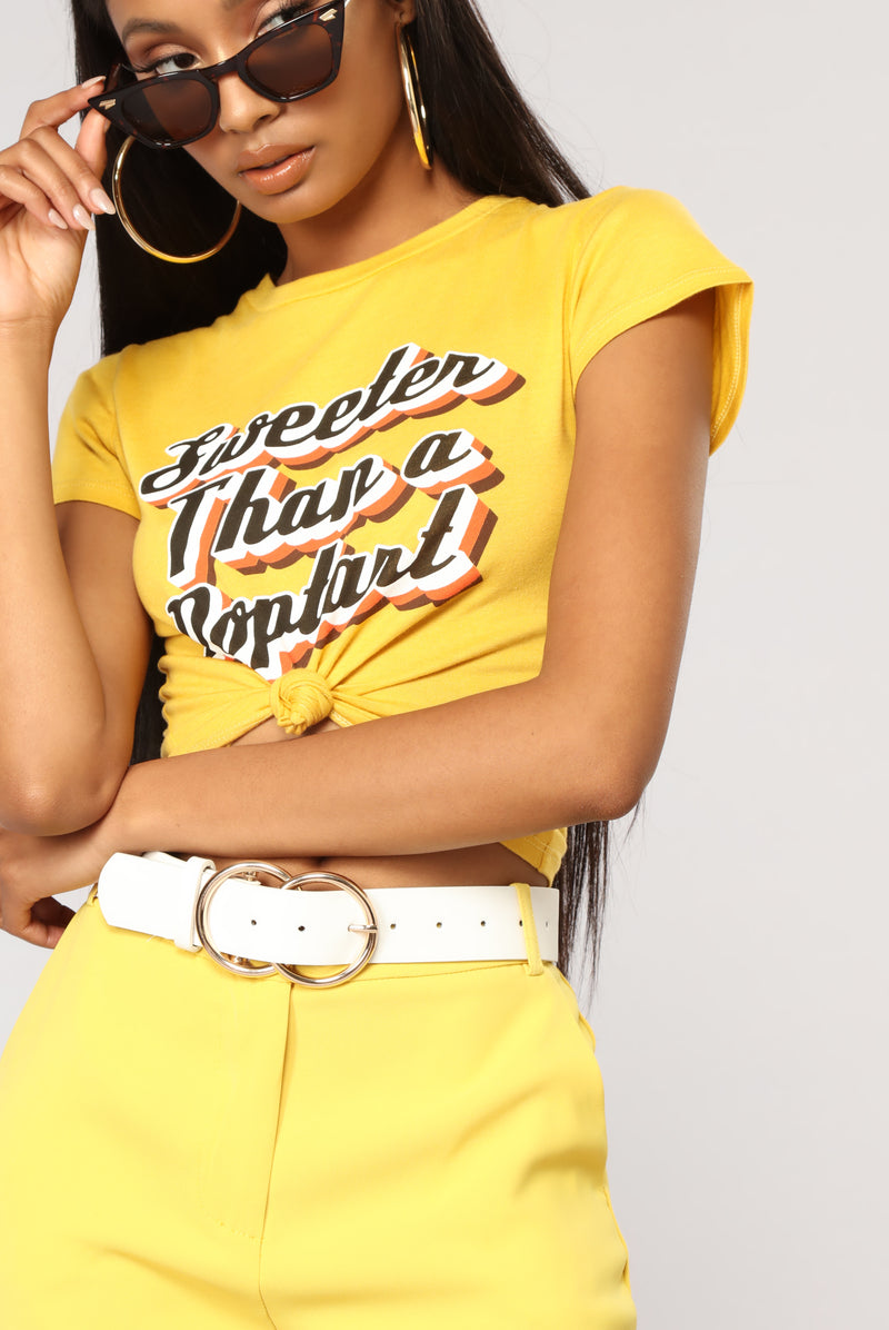 Sweeter Than Poptart Cropped Top - Mustard