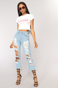 It's Complicated Cropped Top - White