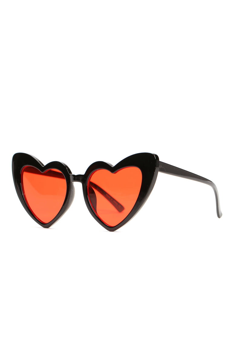 Appreciate The Heart Sunglasses - Black/Red