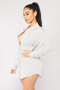 Well Suited Striped Shirt Dress - White