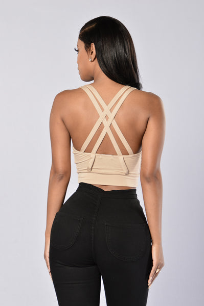 Mesh You Up Crop Top - Nude