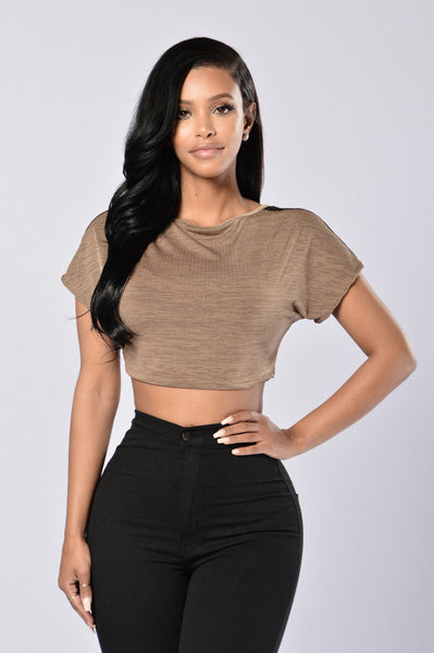 Blind Date Crop Top - Taupe