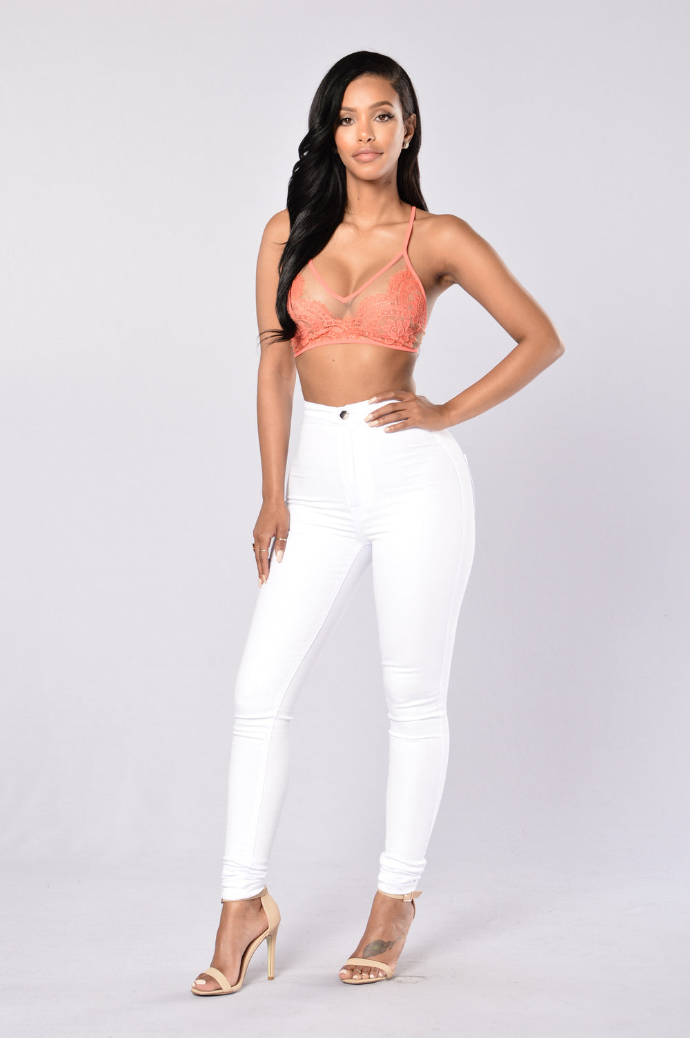 Paint The Town Bralette - Coral