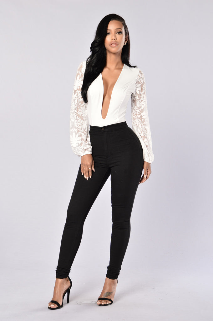 Damask Bodysuit - White