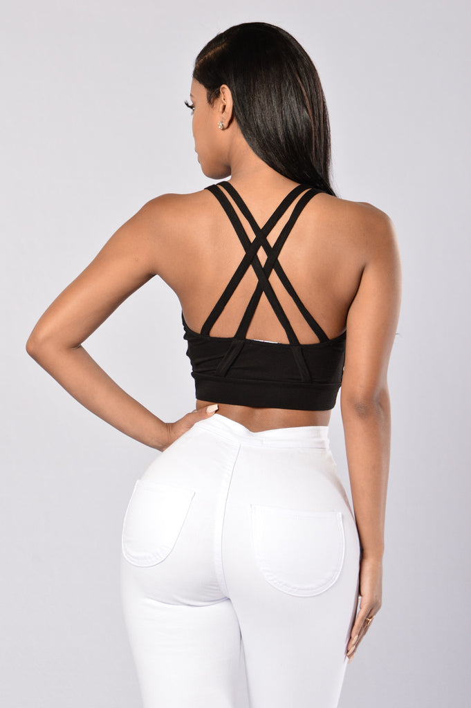 Mesh You Up Crop Top - Black