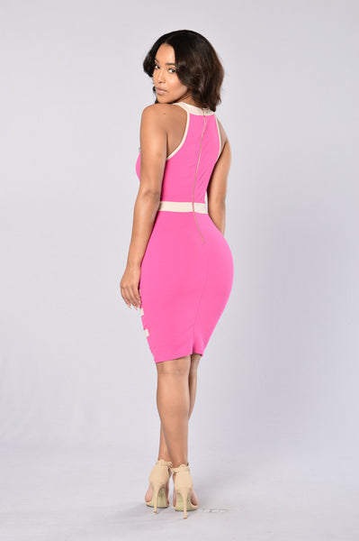 Ivy League Dress - Fuchsia/Nude