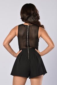 Here I Am Romper - Black