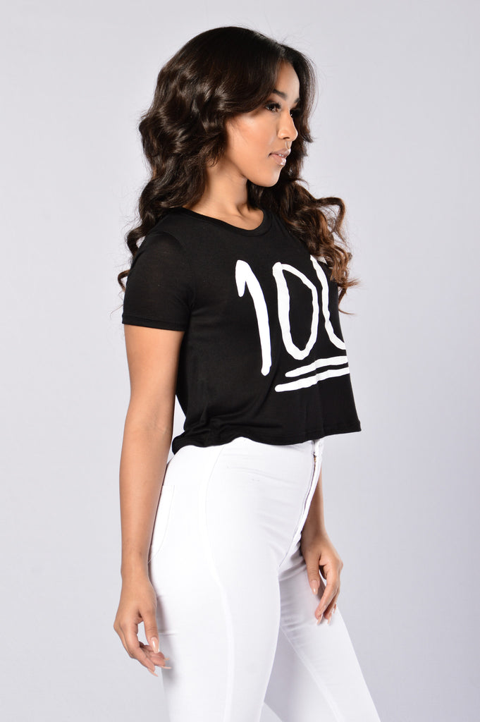 Keep it 100 Crop Tee - Black