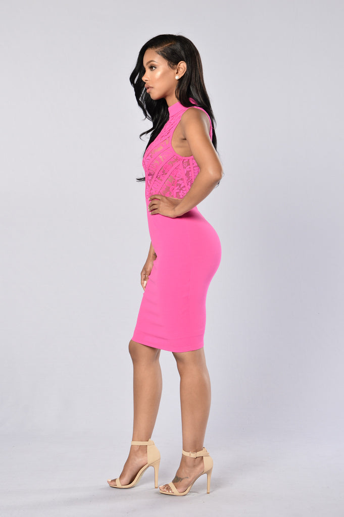 No Boundaries Dress - Fuchsia