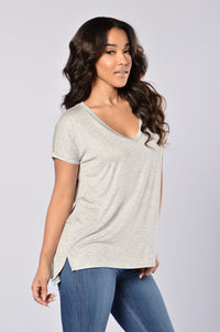 Day in Day Out Tee - Heather Grey Angle 3