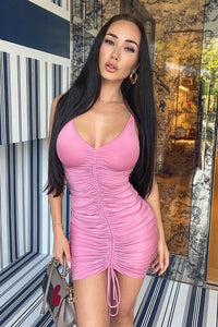 Shanghai Ruched Dress - Pink Angle 1