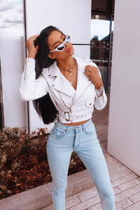 Show Stopper Crop PU Moto Jacket - White Angle 1