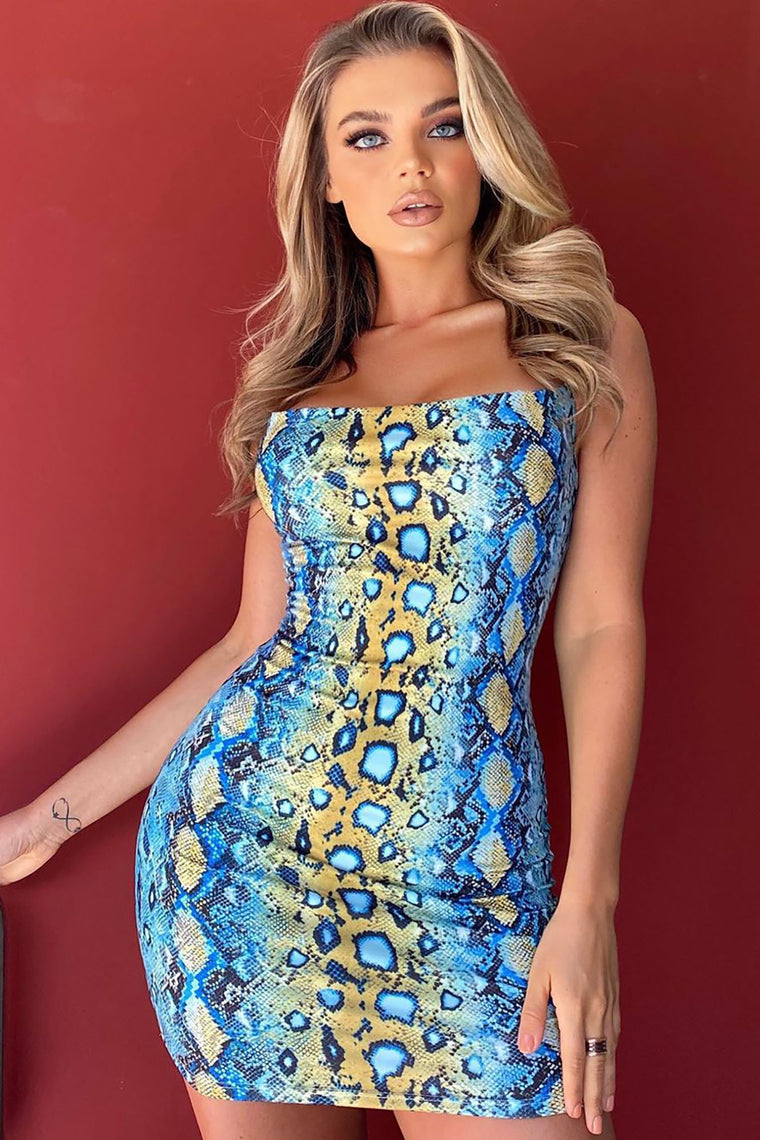 Sneaking Out Late Snake Print Mini Dress - Blue/combo