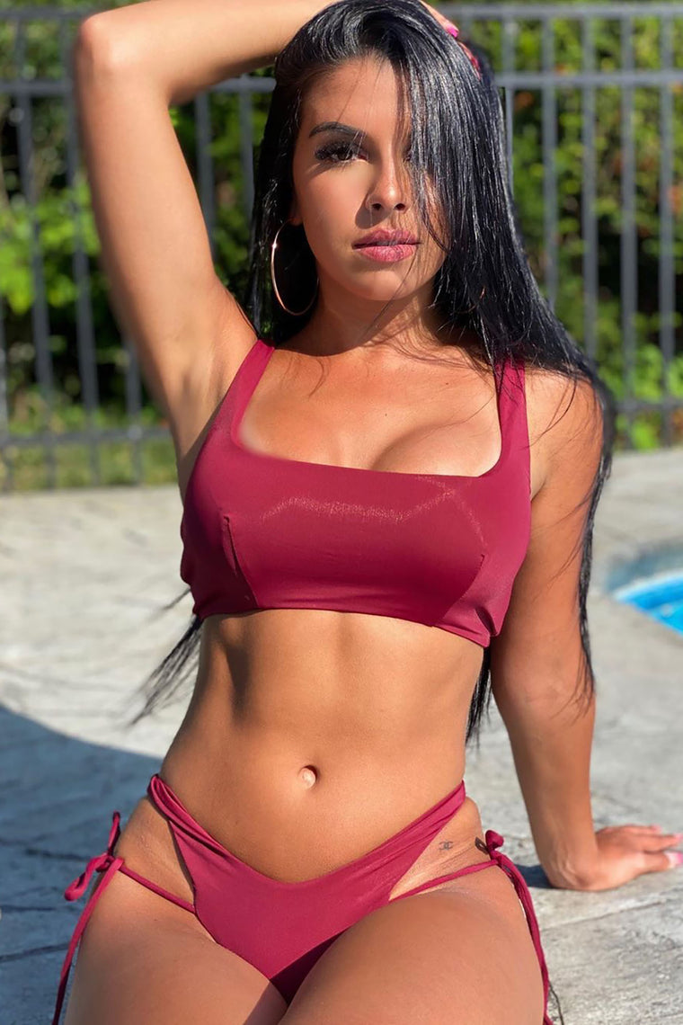 Strappy Place 2 Piece Bikini - Burgundy