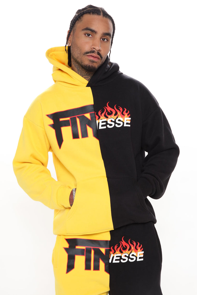 Feel The Vibes Two Tone Hoodie - Black/Yellow