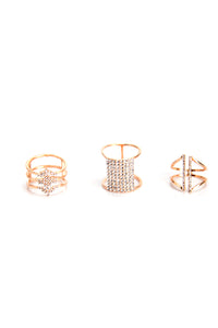 Lock You Down Ring Set - Gold