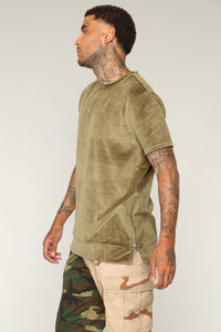 Wyatt Short Sleeve Knit Top - Olive
