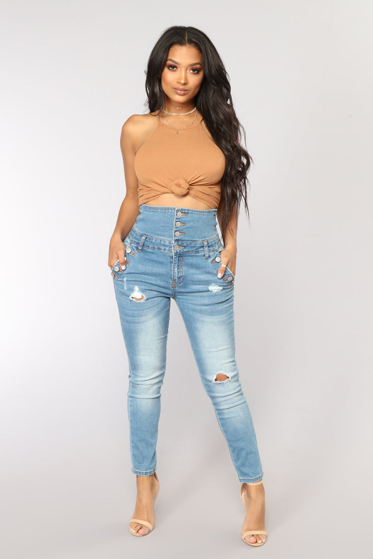 Stacks On Stacks Ankle Jeans - Light Blue Wash