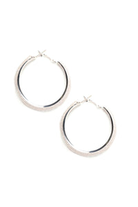 Meet Me In The Middle Hoop Earrings - Silver