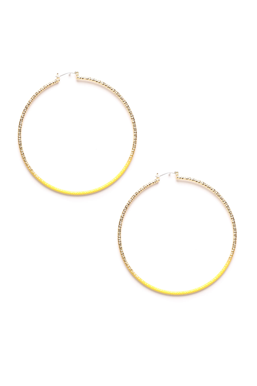 Dipped Down Low Hoops - Yellow