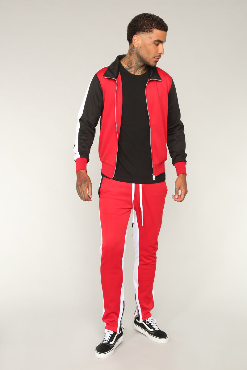 Bobby Track Pant - Red/Combo