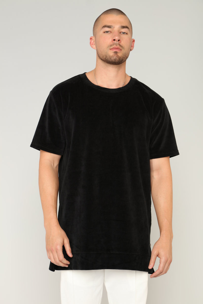 Wyatt Short Sleeve Side Zipper Crew Top - Black