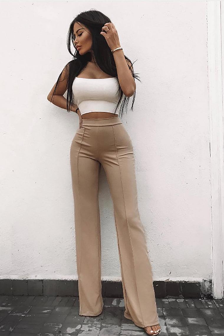 Victoria High Waisted Dress Pants - Taupe