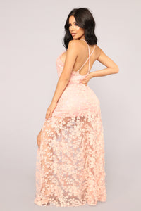 Gentle Breeze Embroidered Dress - Blush