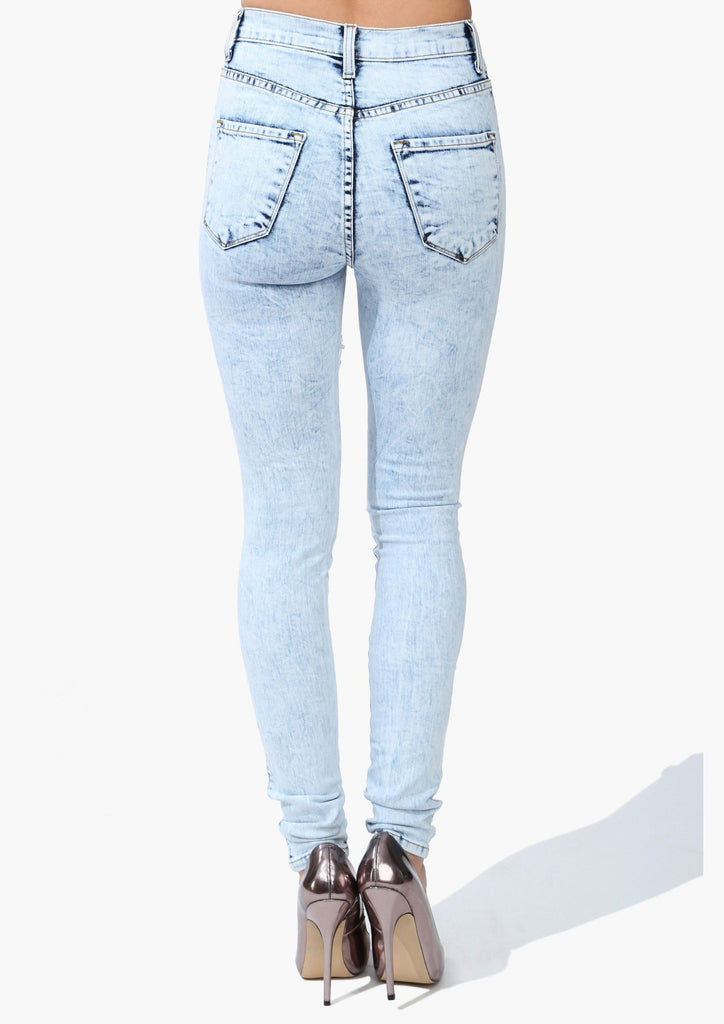 Hi Rise Acid Wash Thigh Slit Skinny Premium Denim - Light